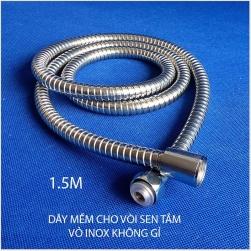 Dây nối mềm cho sen tắm với vỏ bằng inox uốn lò xo I150cm02, dài 1.5m