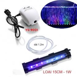 Bộ đèn LED đổi màu bể cá 15cm có đầu sủi bọt khí kèm máy tạo khí oxy cho bể cá