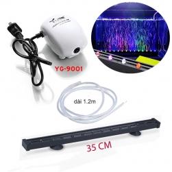 Bộ đèn LED đổi màu bể cá dài 35cm có đầu sủi bọt kèm máy tạo khí oxy cho bể cá