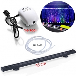 Bộ đèn LED đổi màu bể cá dài 45cm có đầu sủi bọt kèm máy tạo khí oxy cho bể cá