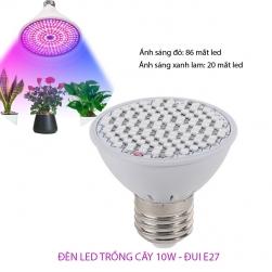 Bóng đèn led trồng cây trong nhà 10W đui xoáy E27 vỏ nhựa