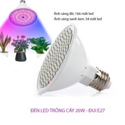 Bóng đèn led trồng cây trong nhà 20W đui xoáy E27 vỏ nhựa