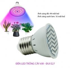 Bóng đèn led trồng cây trong nhà 6W đui xoáy E27 vỏ nhựa