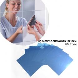 Bộ 16 miếng gương dán tường 15x15cm-dày 0.2mm