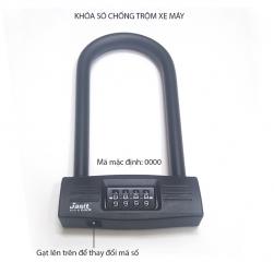 Khóa số chống trộm xe máy JS04 hình chữ U – loại 4 số có thể thay đổi được mã số