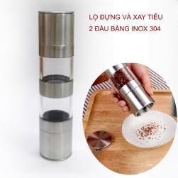 Lọ đựng và xay hạt tiêu đa năng 2 đầu 02 (2in1) inox 304