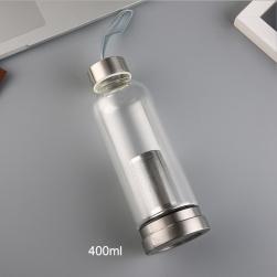 Bình đựng nước bằng thủy tinh 1 lớp 2 đầu kiêm lọc pha trà bằng inox cao cấp có dây treo (400ml)
