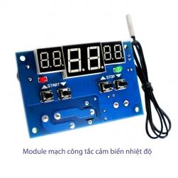 Module mạch công tắc cảm biến nhiệt độ W1401 với 3 màn hình hiển thị nhiệt độ, đầu cảm biến rời có thể ngâm trong nước
