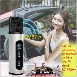 Micro không dây K199 hát Karaoke trên ô tô kết nối bằng sóng FM 87.5MHz