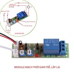 Module mạch thời gian trễ relay timer JK11 tự động tắt, bật theo chu kỳ lặp lại, hoặc 1 lần