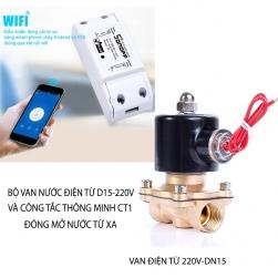 Bộ van nước điện từ 220V, ren trong D15 và công tắc thông minh điều khiển bằng smartphone