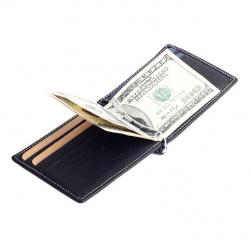 Ví nam da bò thật cao cấp kiểu kẹp tiền, có khe để thẻ card và tiền xu