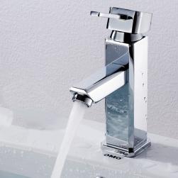 Vòi nước nóng lạnh cho chậu rửa mặt hình vuông bằng đồng mạ Crom