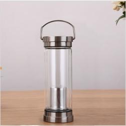 Bình thủy tinh giữ nhiệt 2 lớp 2 đầu kiêm lọc pha trà inox cao cấp có quai xách - 300ml