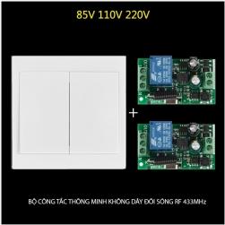 Bộ công tắc đôi thông minh không dây điều khiển từ xa sóng RF 433Mhz (công tắc 2 phím gắn tường vuông 86 và 02 bộ nhận)