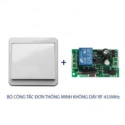 Bộ công tắc đơn thông minh không dây điều khiển từ xa sóng RF 433Mhz (công tắc 1 phím gắn tường vuông 86 và 01 bộ nhận)