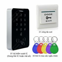 Bộ kiểm soát mở khóa cửa điện từ bằng thẻ IC-mã số, kèm 5 thẻ IC và công tắc exit