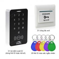 Bộ kiểm soát mở khóa cửa điện từ bằng thẻ ID-mã số, kèm 5 thẻ ID và công tắc exit