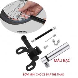 Bơm mini bằng tay cho xe đạp thể thao, bơm bóng đa năng BG035 vỏ hợp kim nhôm