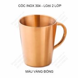 Cốc ly bằng inox 304 loại 2 lớp có tay cầm 300ml, chuyên dùng uống cà phê, uống trà, sữa đa năng (Vàng đồng)