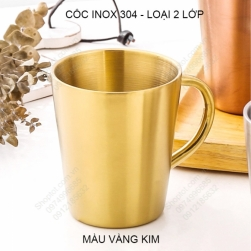 Cốc ly bằng inox 304 loại 2 lớp có tay cầm 300ml, chuyên dùng uống cà phê, uống trà, sữa đa năng (Vàng kim)
