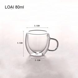 Cốc (ly) thủy tinh 2 lớp giữ nhiệt uống trà và café, có tay cầm, loại nhỏ 80ml