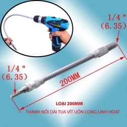 Thanh nối dài tua vít uốn cong linh hoạt, đầu lục giác 6.35 (dài 20cm)