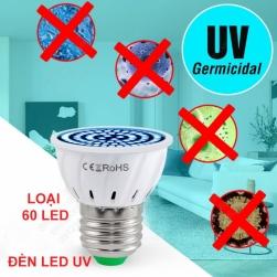 Đèn led UV khử trùng, diệt khuẩn đui E27, loại 60 LED