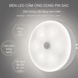 Đèn Led cảm biến chuyển động loại nhỏ 6 mắt led gắn tủ, hành lang, bếp, gường có miếng dán nam châm rất tiện
