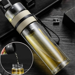 Bình thủy tinh 2 lớp giữ nhiệt 400ml kèm bộ lọc pha trà inox 304 và nắp bằng thủy tinh kiêm cốc ly uống trà, có dây đeo