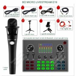 Bộ Micro livestream E19 dùng hát karaoke livestream hoặc livestream bán hàng (hàng nội địa Trung Quốc)
