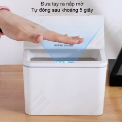 Thùng rác Mini để bàn cảm biến thông minh, tự động đóng mở nắp. Dùng để rác, để đồ cá nhân, để đồ nhà bếp, để đồ nhà tắm rất tiện dụng