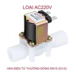 Van nước điện từ thường đóng loại 220V-TS101, bằng nhựa, ren ngoài D15 (G1/2)