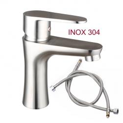 Vòi nước nóng lạnh cho chậu rửa mặt tròn VRNL-I304B1 bằng Inox 304 kèm dây nối mềm vỏ inox