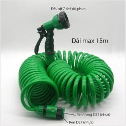 Bộ vòi xịt 7 chế độ kèm dây mềm lò xo dài max 15m (JC615)