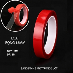 Băng dính 2 mặt loại acrylic trong suốt, chịu nhiệt, chịu lực (dày 1mm, dài 3m, rộng 15mm)
