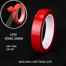 Băng dính 2 mặt loại acrylic trong suốt, chịu nhiệt, chịu lực (dày 1mm, dài 3m, rộng 20mm)