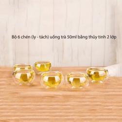 Bộ 6 chén (ly) nhỏ 50ml bằng thủy tinh 2 lớp dùng uống trà, café