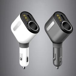 Đầu sạc điện thoại xe hơi có đồng hồ vôn kế 3 cổng sạc USB và 01 ổ cắm điện xe hơi