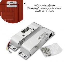 Khóa chốt cửa điện từ gắn cửa gỗ-nhựa-nhôm, loại thường mở 12VDC có độ trễ 0-3-6 giây