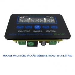 Công tắc cảm biến nhiệt độ W1411-220V gắn âm với 3 màn hình hiển thị nhiệt độ, đầu cảm biến rời chống nước