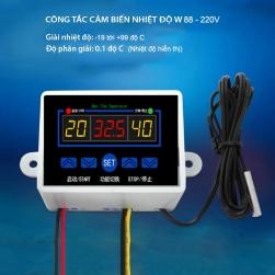 Công tắc cảm biến nhiệt độ W88-220V gắn nổi với 3 màn hình hiển thị nhiệt độ, đầu cảm biến rời chống nước