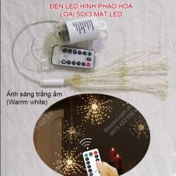 Đèn led dây MD503-50x3 mắt led hình pháo hoa nhấp nháy nhiều chế độ, dùng pin tiểu AA, chống nước mưa, có điều khiển – remote