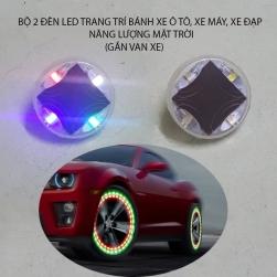 Bộ 2 đèn led nhiều màu năng lượng mặt trời trang trí bánh xe ôtô, xe máy, xe đạp