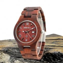 Đồng hồ đeo tay mặt tròn vỏ và dây bằng gỗ đàn hương đỏ