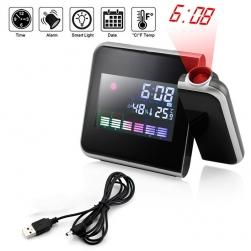 Đồng hồ báo thức kiêm nhiệt độ, độ ẩm, lịch có đèn chiếu giờ lên tường, trần nhà