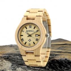 Đồng hồ đeo tay mặt tròn vỏ và dây bằng gỗ thích (gỗ Maple)