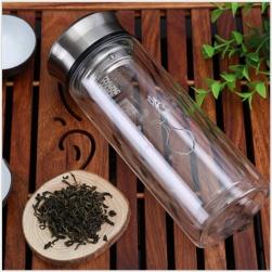 Bình giữ nhiệt bằng thủy tinh 2 lớp 1 đầu kèm bộ lọc pha trà inox cao cấp - 300ml