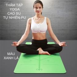 Thảm tập Yoga vật liệu cao su tự nhiên và bề mặt PU chống trơn 183x86cm dày 5mm